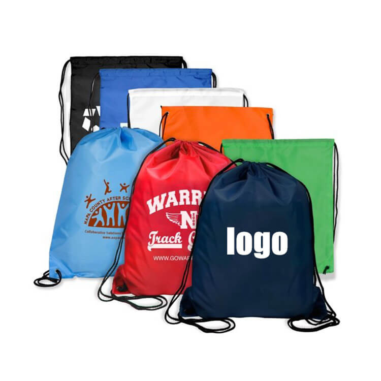 logo printed oem blank drawstring shopping bag